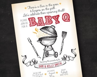 Couple's BBQ Baby Shower Invitation | Co-Ed Baby Shower Invitation | Printed Invitation or Printable Digital File | Red Baby Q Baby Shower