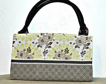 Two Tone Gray, Yellow, White Floral Magnetic Bag Shell Cover