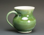 Handmade porcelain coffee mug or tea cup jade green 14 oz 2671
