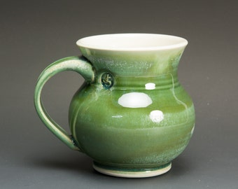Handmade porcelain coffee mug or tea cup jade green 14 oz 2671
