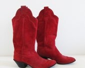 Vintage Red Suede Leather Cowgirl Boots / Country Western Woman's Size 5.5 Scalped Tall Boots