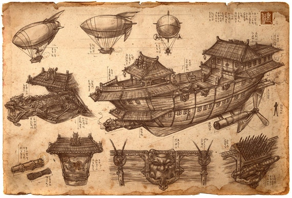 Imperial Convoy Chinese Steampunk Print by James Ng