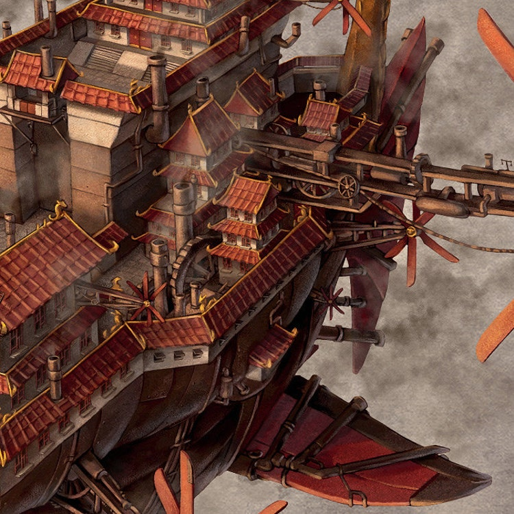 Imperial Airship Chinese Steampunk Print By James Ng By