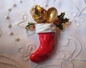 Vintage Christmas Brooch of Red Stocking, Gold Tone Mouse, Green Holly Leaves by JJ