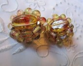 Vintage Gold and Red Glass Beaded Clip On Earrings from Japan