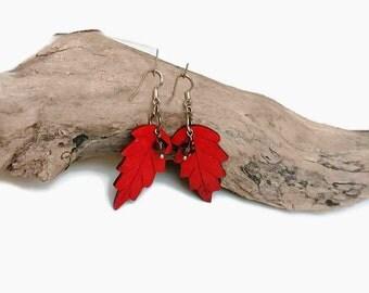 Coconut Shell Earrings, Woodland Earrings, Nature Dangle Earrings, Orange Leaf Earrings, Tropical Jewelry, Festival Earrings