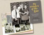 Wonders of His Love Custom Holiday Photo Card Design- optional backside design