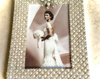 Handmade Photo Frame- Art Deco Frame- Unique Gifts- Wedding Gifts- Bridal Gifts - Embellished Picture Frame- Home Decor- Pearls Rhinestones