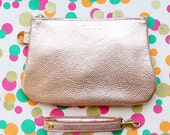 Leather Zipper Pouch / Clutch bag / Purse Clutch / Makeup Pouch with Strap Handle - Gold Pink