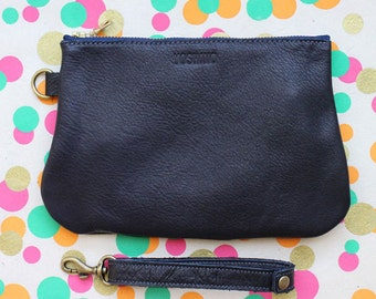 Leather Pouch / Clutch bag / Makeup Pouch with Strap Handle - Navy Blue