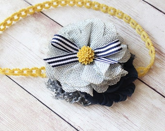 Mums The Word- navy blue , mustard and grey chiffon and burlap flower headband with bow