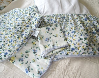 Vintage Shams, Full Size Bedskirt Dust Ruffle, 2 Standard Pillowcases, by Laura Ashley, Floral, Blue, Yellow
