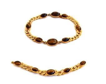 Vintage Kenneth Lane Signed Tiger Eye Agate Necklace and Bracelet Set c.1990s