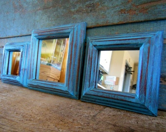 Turquoise Mirrors Distressed Wood Frame Set of 5