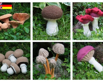 Mushroom - Vol. 1-6 (Champignons, Chanterelle, Mycena, Bloody Brittlegill, King Bolete, Rosy Spike Cap) - crochet pattern, PDF in English