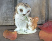 "Vintage Beatrix Potter Characters Figurine ""Old Mr. Brown"" Beswick England Numbered Owl Squirrel Nutkin"