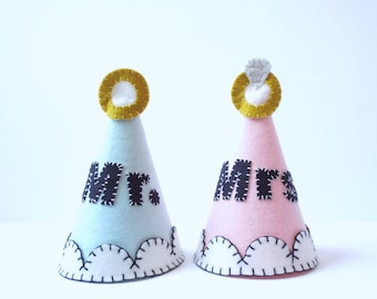 Mr. and Mrs. Party Hats--Set of 2--Custom Made