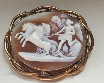 Victorian Cameo Brooch Goddess Nike in Chariot
