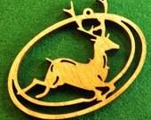 Wood Leaping Deer Ornament