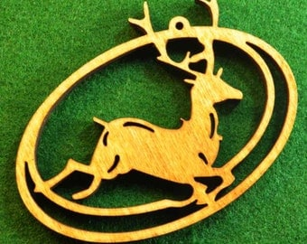 Wood Leaping Deer Ornament