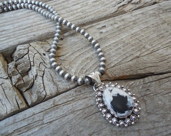 White Buffalo turquoise necklace handmade in sterling silver