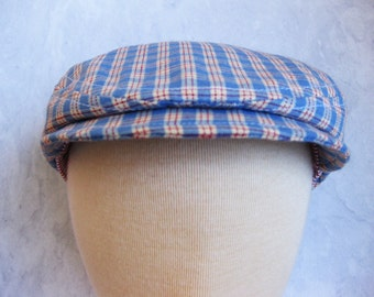 SALE 50% OFF Toddler boy blue checkered hat red and blue baby cap baby newsboy- Country Blues