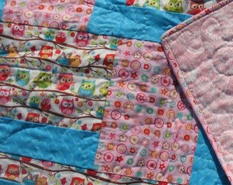 Adorable Owls Toddler or Lap Quilt