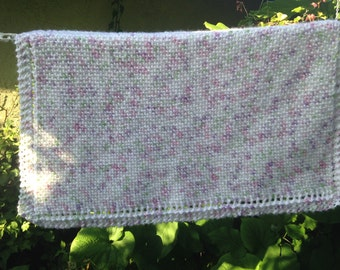 Knit baby blanket premium acrylic yarn (White,pink,lavender and green)