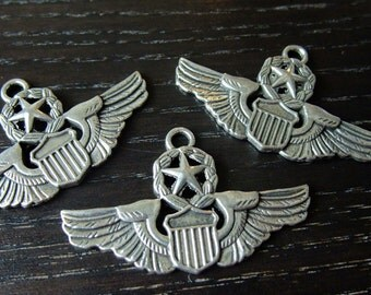 Destash (5) Pilot Wings Airforce shield star silver charm pendants - for pendants, jewelry making, crafts, scrapbooking