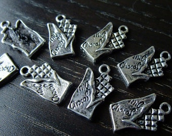 Destash (8) Chocolate Candy Bar silverplated charm - for pendants, jewelry making, crafts, scrapbooking