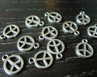 Destash (12) Mini Peace Symbol silver charm pendants - for pendants, jewelry making, crafts, scrapbooking