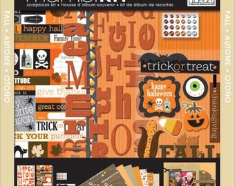 "mambiKIT Scrapbook Themed Kit – 12x12""- Autumn Halloween Fall - paper, stickers, pumpkin, ghost, thanksgiving - brand new!"