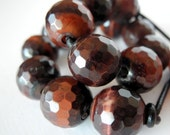 Large Hole Red Tiger Eye Beads Faceted Earthy Red Brown 14mm Faceted 2.5mm Hole 7 Beads