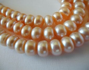 Large Hole Button Pearls Natural Color Golden Pink Peach 10mm Freshwater Cultured 28 Pearls