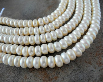 White Large Hole Button Pearls 8-9mm Freshwater Cultured 28 Pearls