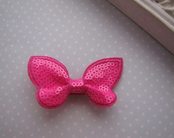 Fuchsia Sequin Butterfly . Candy Collection . boutique clippie . girls hair accessory