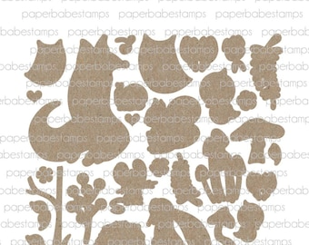 Whimsical Woodland Fibreboard Substrates Kit - Paperbabe Stamps - Coordinating MDF Shapes for mixed media and craft.