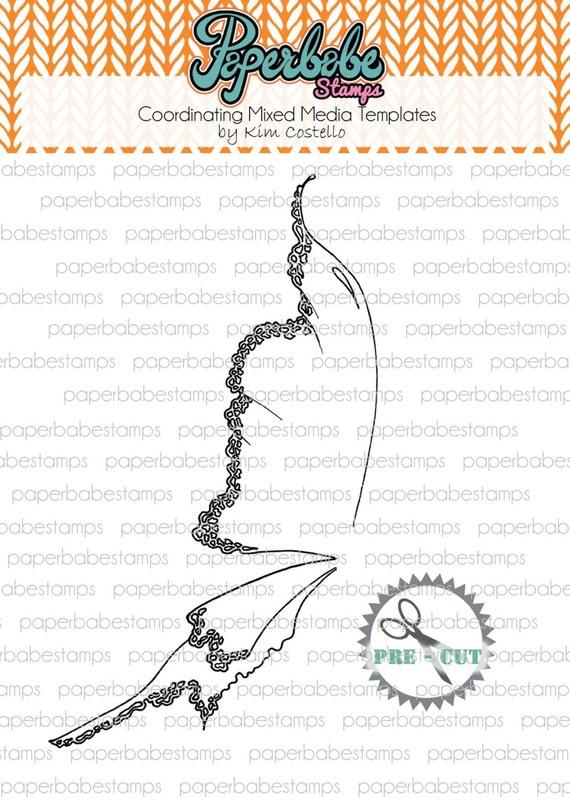 Mixed Media Winter Fairy Wing Template ~ Paperbabe Stamps - Pre-Cut Mylar templates - For mixed media, paper crafting and scrapbooking.