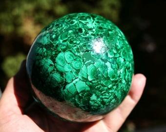 Malachite Sphere Beautiful Green Semi Precious Stone  Large Specimen