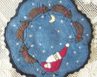 Christmas Penny Rug, Candle Mat, Felted Wool, with Appliqued Folk Art Santa and Reindeer