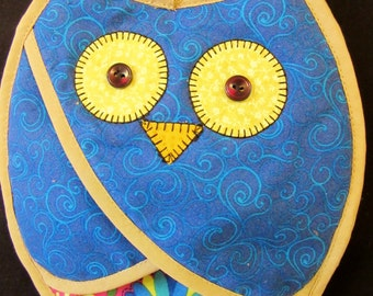 Whimsical Owl Potholder, Oven Mitt, in Bright, Colorful Fabrics