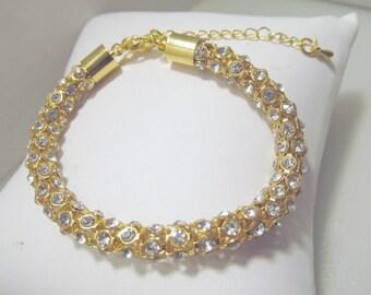 Crystal Rope Bracelet, Wedding Rhinestone Bracelet, Rhinestone, Crystal, Gold, Rope, Tube, Bangle,  Bracelet, Bride, Bridesmaid, Wedding,