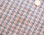 Antique 1850 - 1870 Blue Grey Cream Gingham Homespun Fabric - Doll Clothes Quilt Repair