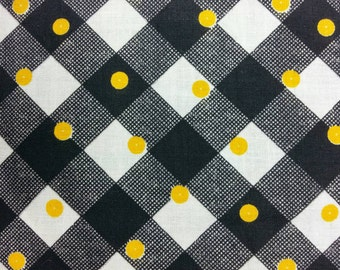 Vintage 1950's Fabric - Yellow Dots and Black Check on White Background  - Half Yard