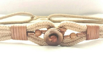 Vintage jute and leather with copper metal and bead belt.