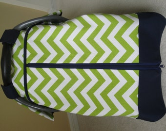 Car Seat Canopy In Premier Prints Chevron with zipper opening