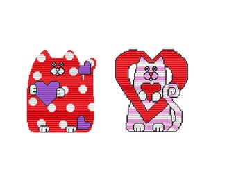 Plastic Canvas Valentine Cats Set One Wall Hanging INSTANT DOWNLOAD