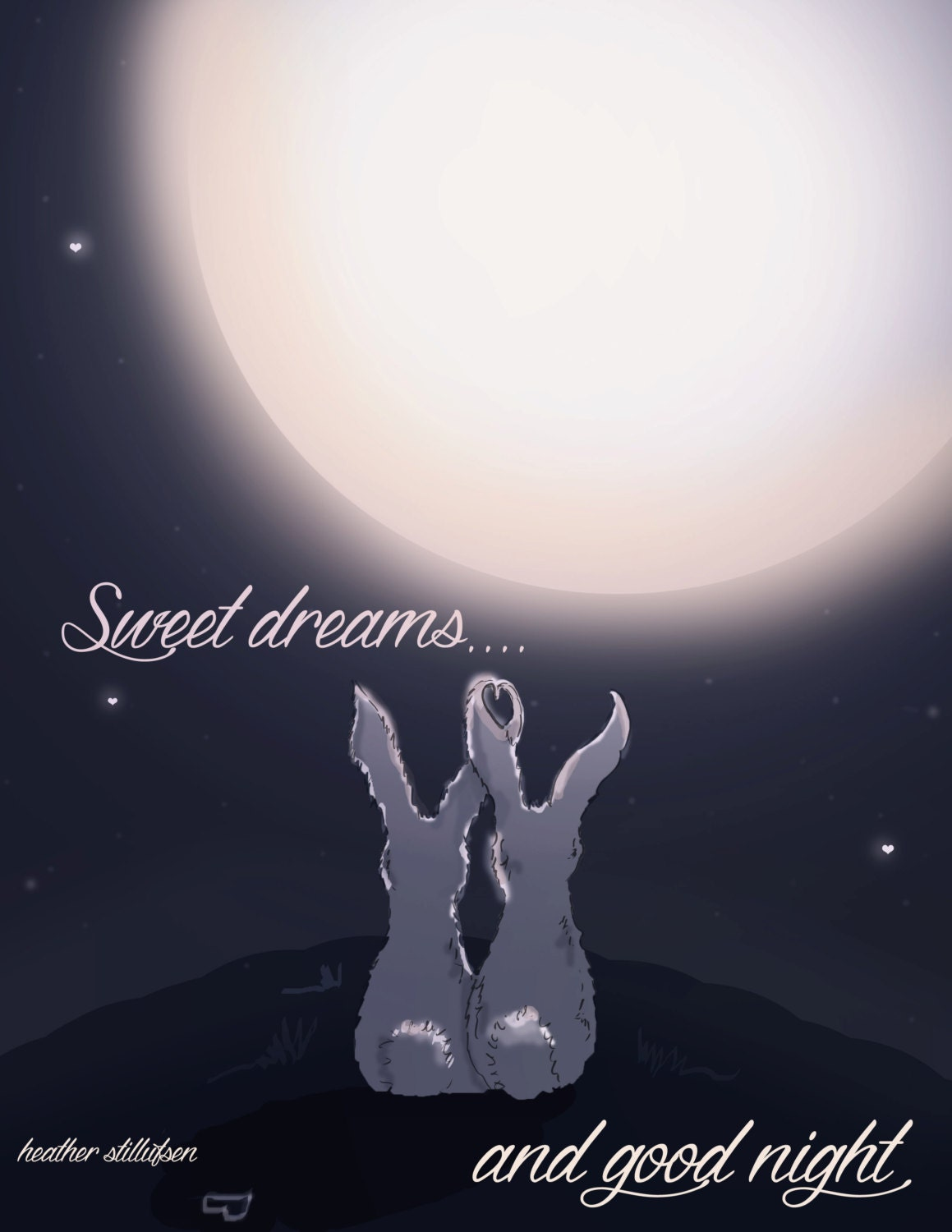 Bunny Art Sweet Dreams And Good Night Art For Childrens