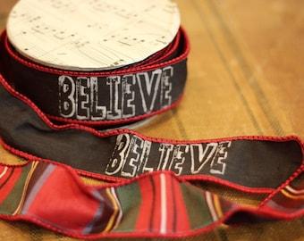 Plaid Believe Blackboard Ribbon