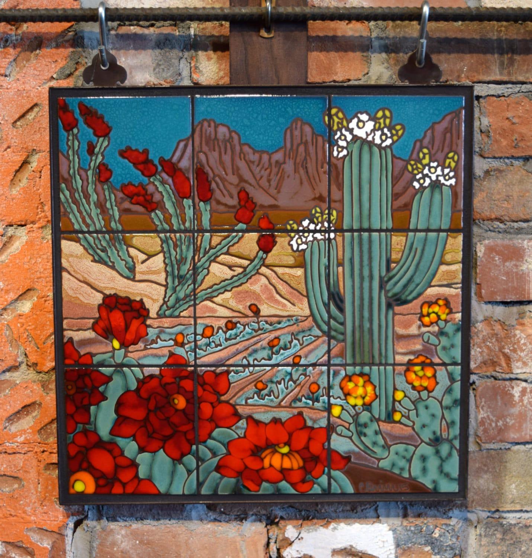 18x18 desert cactus blooms hand glazed decorative tile mural for Decorative tile mural